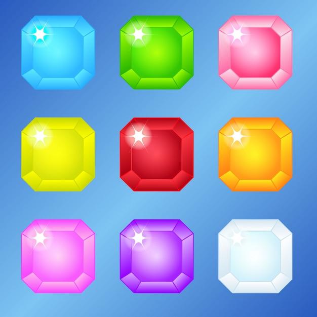 Jewelry square 9 couleurs pour 3 matchs. Vecteur Premium