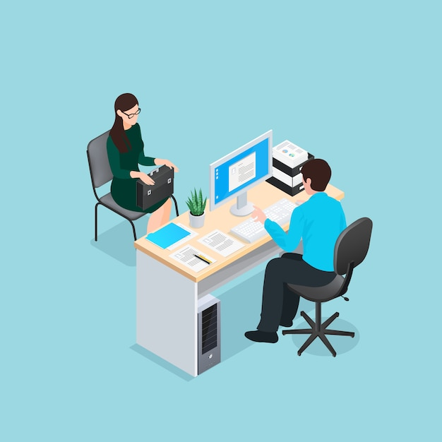 Job interview isometric illustration Vecteur gratuit