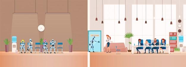 Job interview recrutement et robots. vecteur. Vecteur Premium