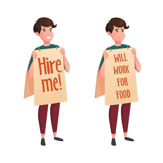 Job Street Search Icônes Décoratives Vecteur gratuit