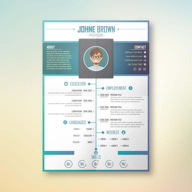 Johne profession cv design Vecteur Premium