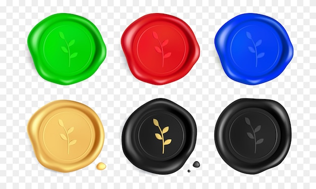 Joint De Cire Serti De Branche. Timbres De Sceau De Cire Vert, Rouge, Bleu, Or, Noir Avec Branche Isolée. Timbre Garanti Réaliste. Vecteur Premium
