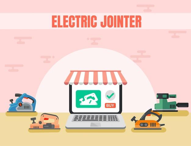 Jointure électrique en ligne shop flat page Vecteur Premium