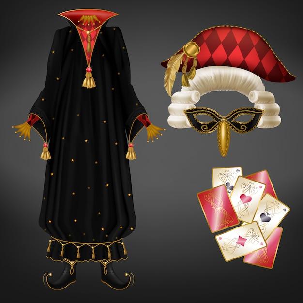Joker Ou Costume De Bouffon Réaliste Vecteur gratuit