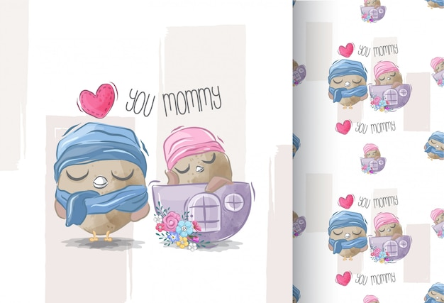 Joli Bébé Chouette Et Maman Avec Un Motif Sans Soudure Vecteur Premium