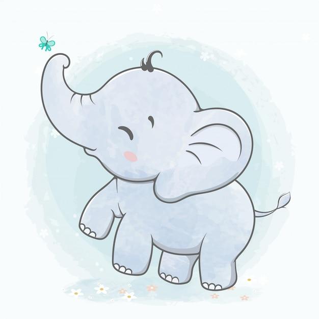 Joli bébé éléphant jouer avec papillon eau couleur cartoon dessiné à la main Vecteur Premium