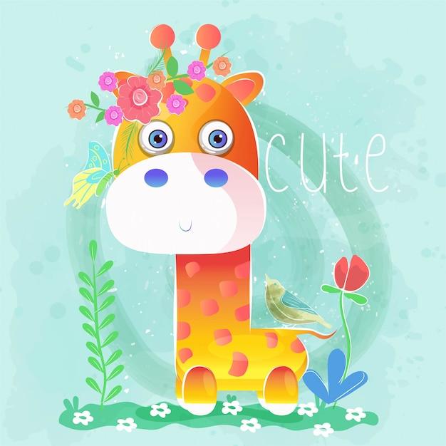 Joli bébé girafe avec des fleurs et des oiseaux Vecteur Premium