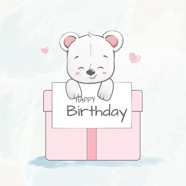 Joli bébé ours avec dessinés à la main bande dessinée couleur eau boîte cadeau Vecteur Premium