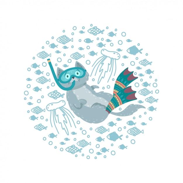 Joli cadre rond avec un chat nageant entouré de poissons. chat plongeant dans des nageoires et un masque. Vecteur Premium