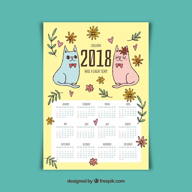 Joli calendrier 2018 avec deux chatons dessinés à la main Vecteur gratuit