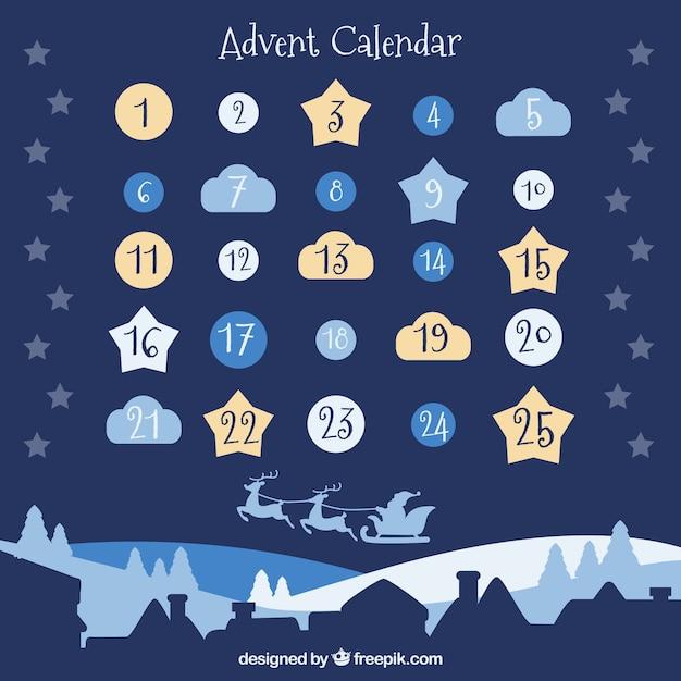 Joli calendrier de l'avent avec des jours sous forme de nuages, d'étoiles et de babioles Vecteur gratuit
