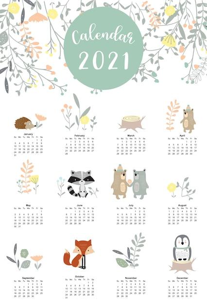 Joli Calendrier Des Bois 2021 Avec Ours, Moufette, Pingouin, Feuilles Pour Enfants, Enfant, Bébé Vecteur Premium