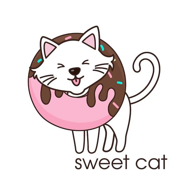 Joli chat blanc avec un beignet au cou Vecteur Premium