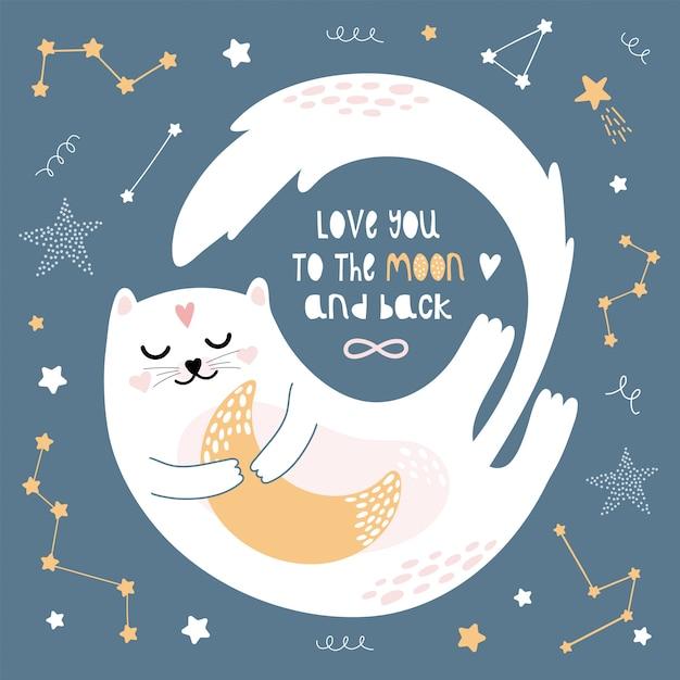 Un joli chat blanc vole dans le ciel nocturne. Vecteur Premium