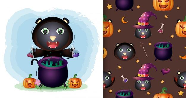 Un Joli Chat Noir Avec Une Collection De Personnages Halloween Costume De Sorcière. Modèles Sans Couture Et Illustrations Vecteur Premium