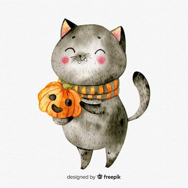 Joli chat noir halloween aquarelle Vecteur gratuit