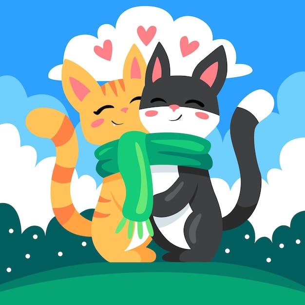Joli Couple D'animaux De La Saint-valentin Avec Des Chats Vecteur gratuit