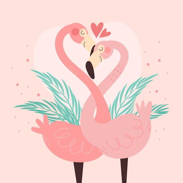 Joli Couple D'animaux De La Saint-valentin Vecteur gratuit