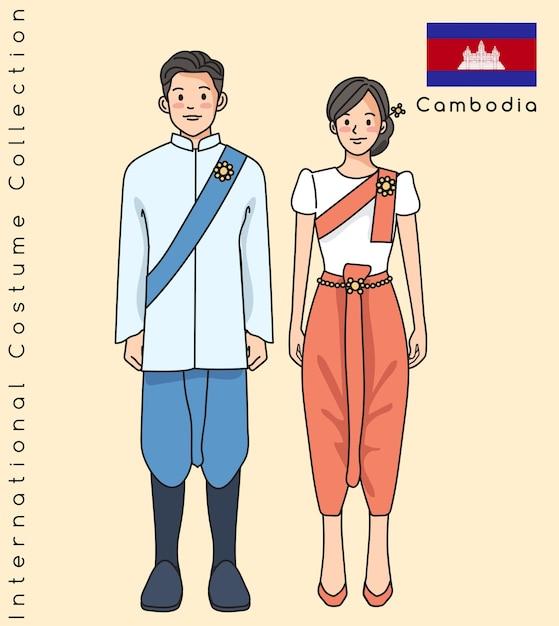 Joli Couple Asiatique Avec Des Vêtements Traditionnels Vecteur Premium