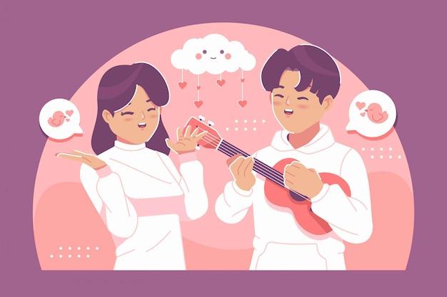 Joli Couple Dans L'amour Illustration Fond Vecteur Premium