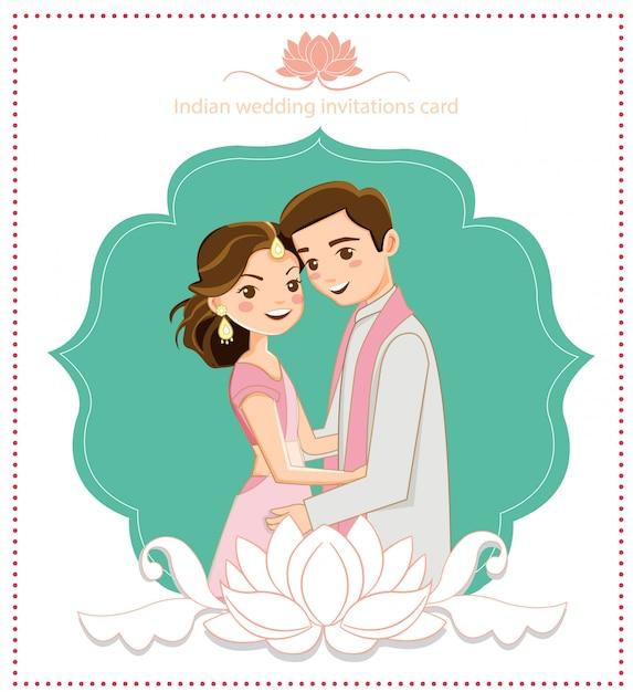 Joli couple indien pour carte de mariage Vecteur Premium