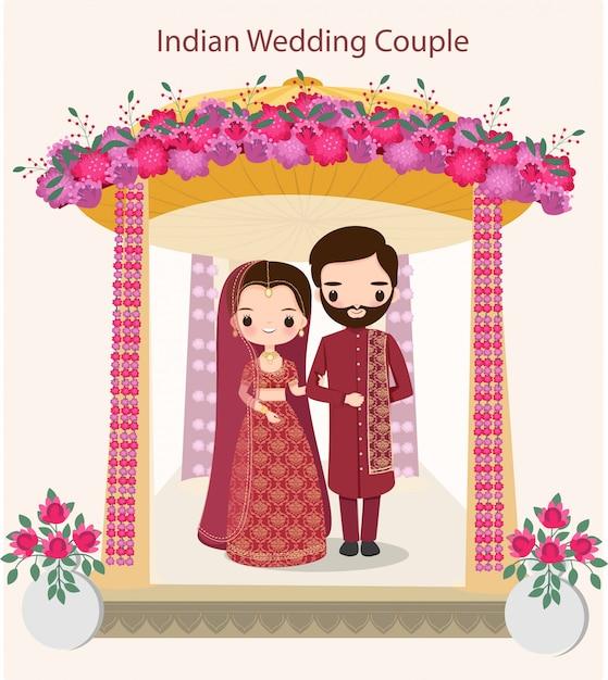 Joli couple indien en robe de mariée traditionnelle debout sous le mandap de mariage Vecteur Premium
