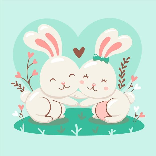 Joli Couple De Lapin Illustré Vecteur gratuit