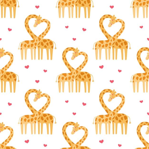 Joli Couple De Modèle Sans Couture De Girafes. Histoire D'amour D'animaux Sauvages Vecteur Premium