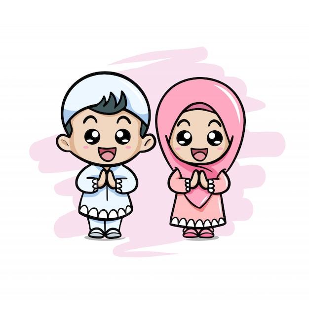 Joli couple musulman enfants saluant salaam Vecteur Premium