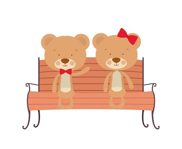 Joli couple d'ours assis sur une chaise de parc Vecteur Premium