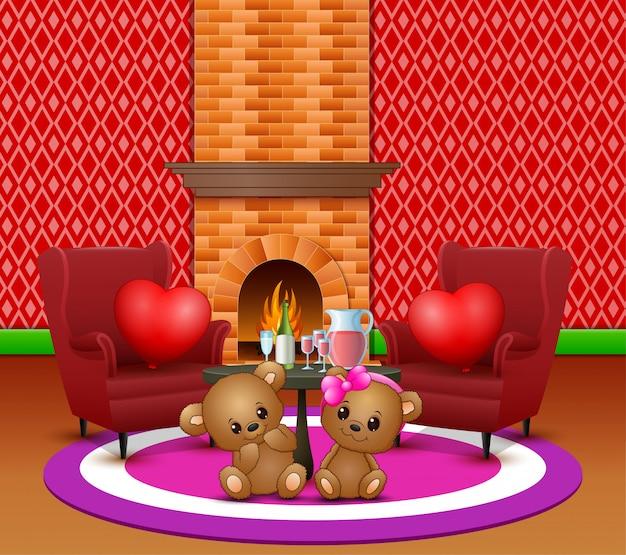 Joli couple ours en peluche dans le salon romantique Vecteur Premium