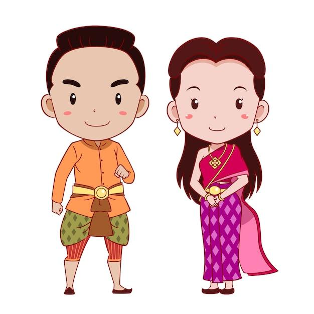 Joli couple de personnages de dessins animés en costume traditionnel thaïlandais. Vecteur Premium