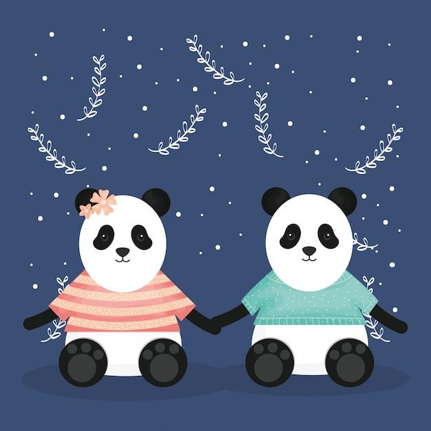 Joli couple porte panda avec personnages Vecteur Premium