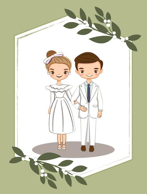 Joli couple pour carte d'invitations de mariage Vecteur Premium