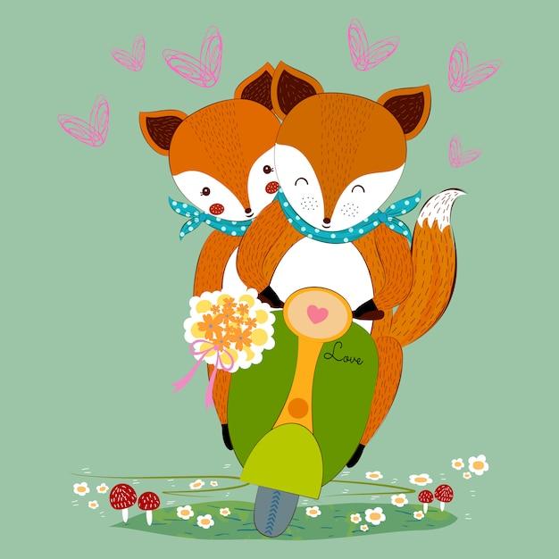 Joli couple de renard de la saint-valentin amoureux du bouquet de fleurs sur un scooter Vecteur Premium
