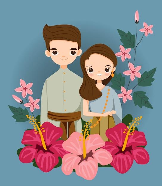 Joli couple thaïlandais en costume traditionnel pour carte d'invitations de mariage Vecteur Premium