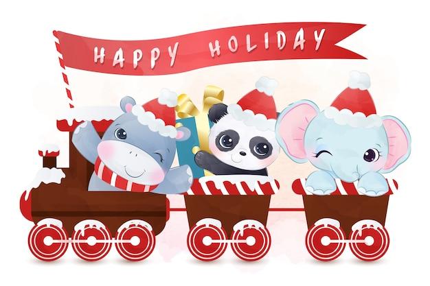Joli Défilé D'hippopotames, De Panda Et D'éléphants En Période De Vacances Vecteur Premium