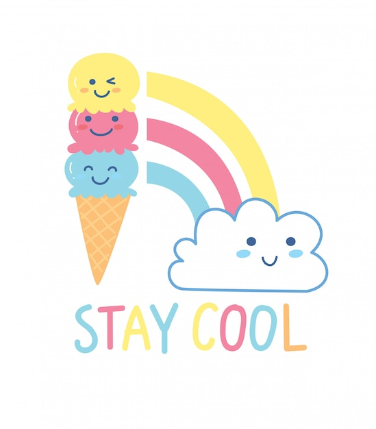 Joli design de t-shirt avec cornet de crème glacée kawaii et arc en ciel Vecteur Premium