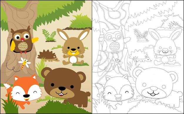 Joli dessin d'animaux des bois Vecteur Premium