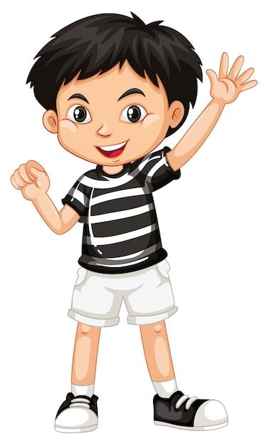 Joli enfant souriant heureux isolé sur fond blanc Vecteur gratuit