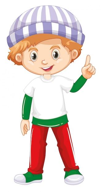 Joli enfant souriant heureux isolé sur fond blanc Vecteur Premium