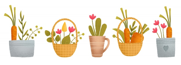 Un Joli Ensemble Coloré, Panier, Carotte, Fleurs, Plantes, Pot Vecteur Premium