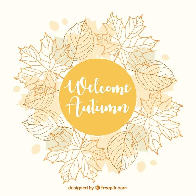 Joli fond d'automne avec un cadre floral Vecteur gratuit
