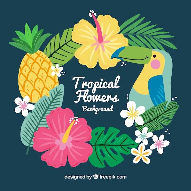 Joli Fond De Feuilles Tropicales Dessinées à La Main Vecteur gratuit