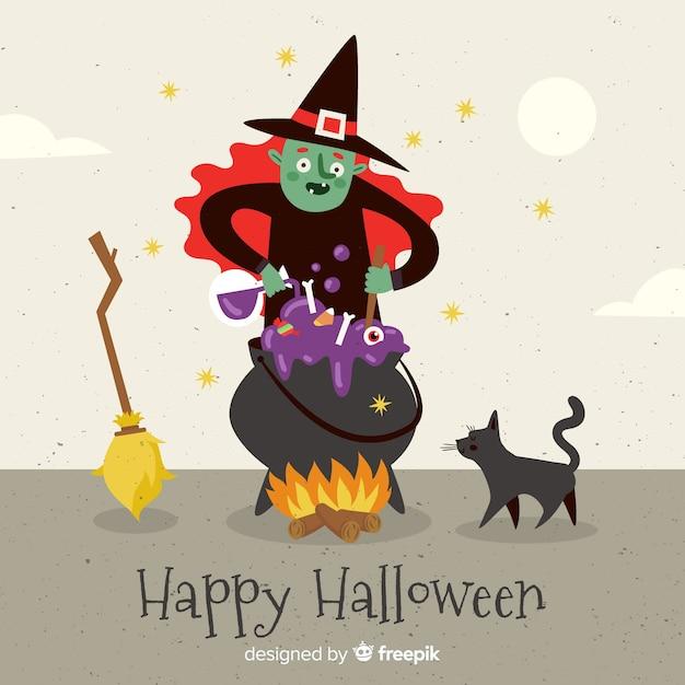 Joli fond d'halloween avec un design plat Vecteur gratuit