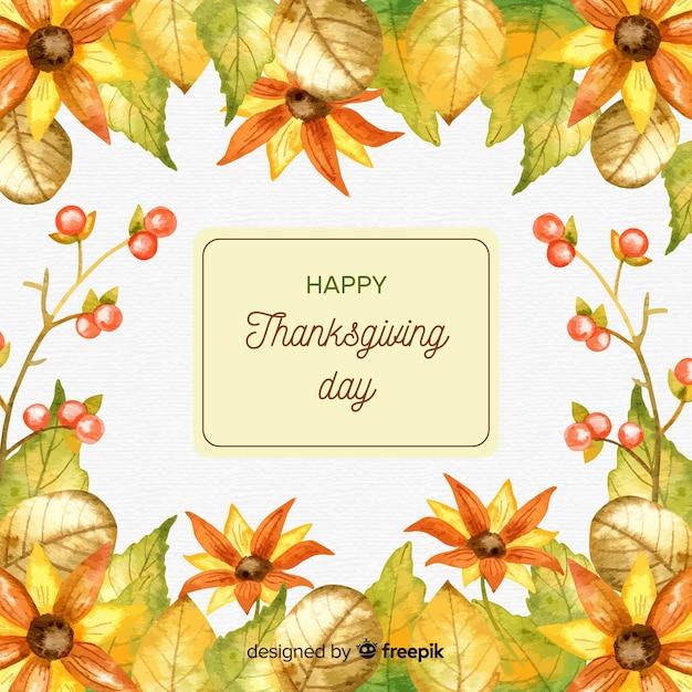 Joli fond de jour aquarelle thanksgiving Vecteur gratuit
