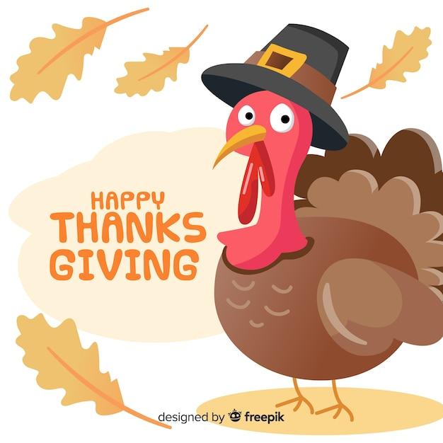 Joli fond de jour de thanksgiving avec un design plat Vecteur gratuit