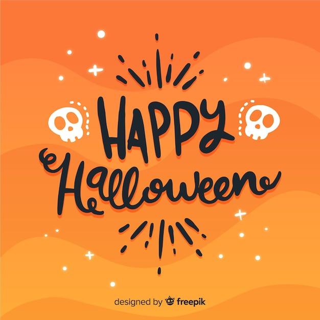 Joli fond de lettrage halloween heureux Vecteur gratuit