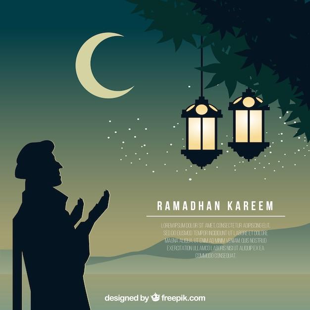 Joli fond ramadan avec silhouette arabe Vecteur gratuit