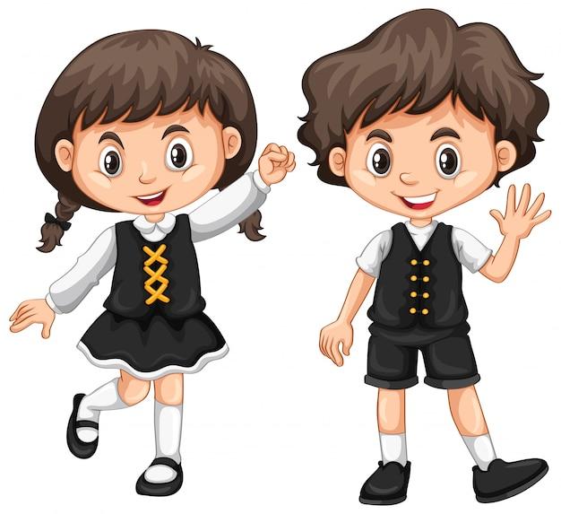 Joli garçon et fille agitant les mains Vecteur gratuit